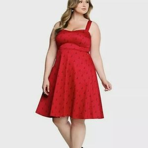 Torrid Anchor Dress Retro Pinup Style Sweetheart